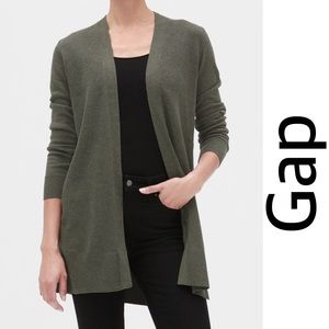 Gap Open Front Cardigan Green Olive Size Small